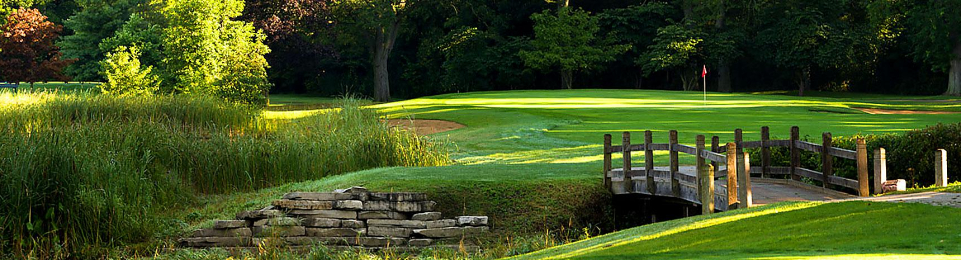 View of a bridge over a stream on the course at Deerpath Golf Course in Lake Forest